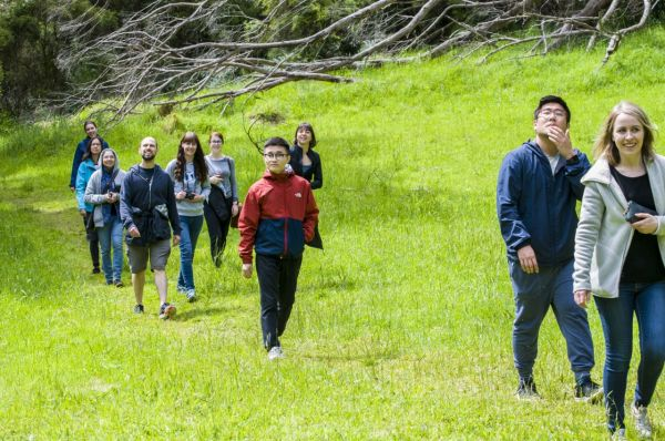 Members of the Kent lab hiking in a green field