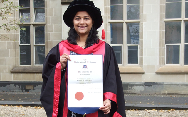 photo of Vijaya on her graduation day