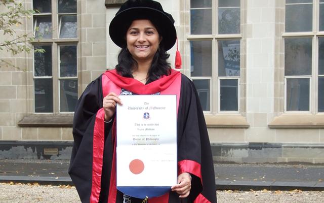 photo of Vijaya on her graduation day