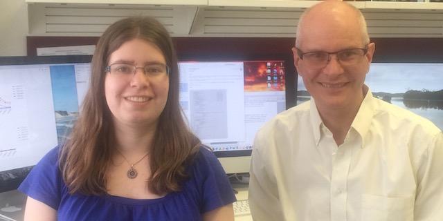 Stephen and PhD student Sarah Lloyd posing for Virology website photo