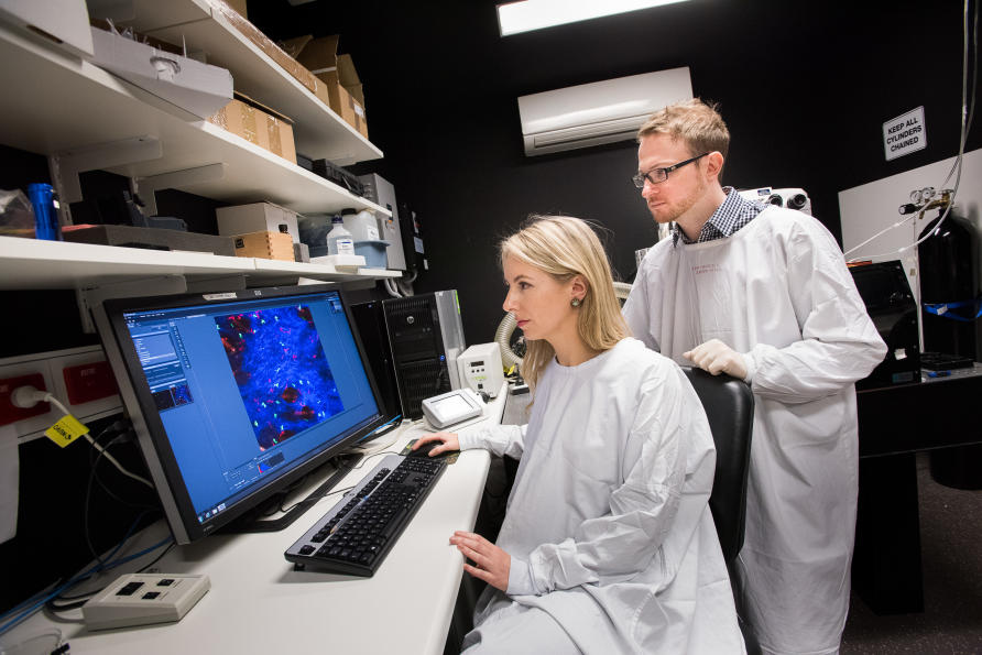 Professor Laura Mackay and a laboratory member looking at microscope images on a computer.