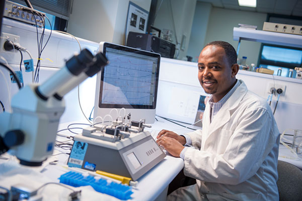 Mr Yohannes Mamo, PhD candidate, studies small cerebrovascular resistance arteries using wire myography.