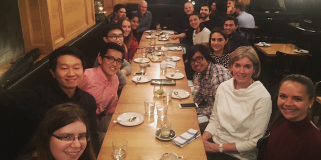 photo of Kent Lab group enjoying celebratory dinner