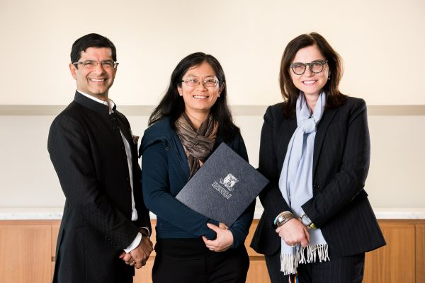 Photo of MDHS Dean, Professor Shitij Kapur, award recipient Dr Angelina Fong and Head of the School of Biomedical Sciences, Professor Fabienne Mackay