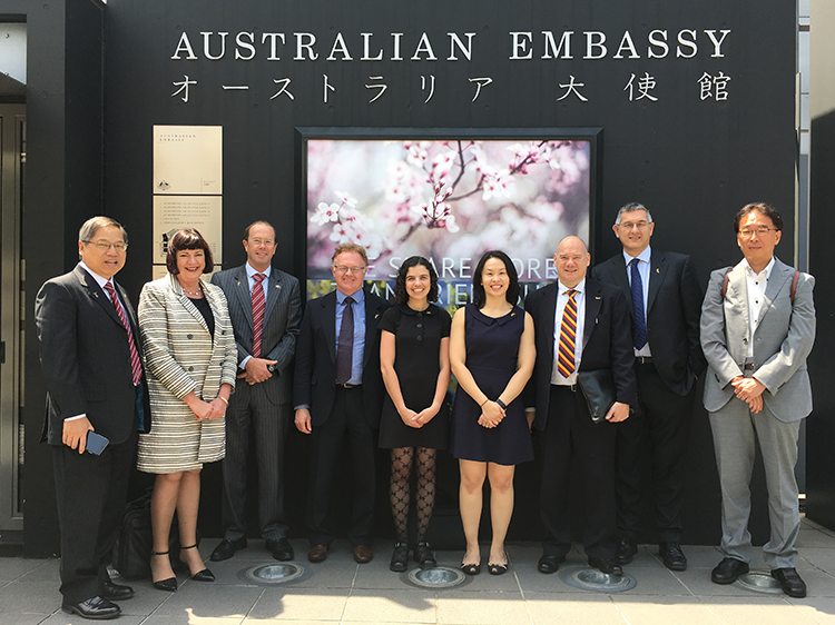 photo of delegation outside Australian Embassy in Tokyo