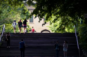 A photo of the South Lawn steps with students walking up them