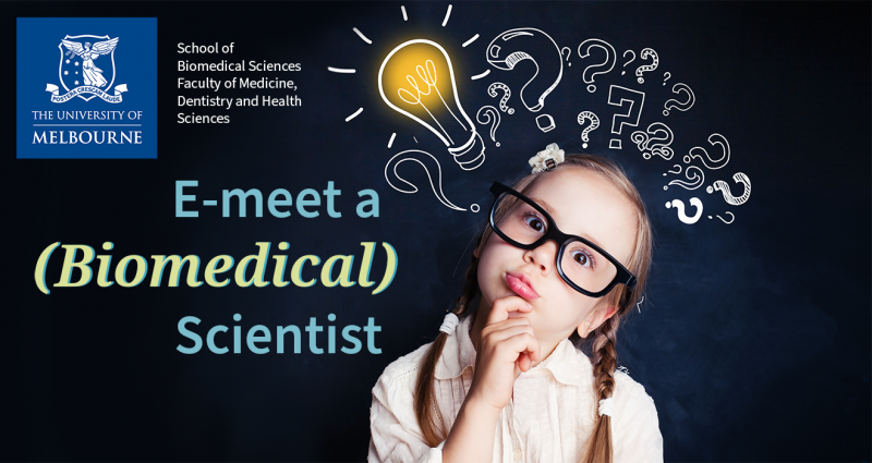 "Image of a young girl wearing oversized glasses and a quizzical look on her face, who is surrounded by question marks. The words ""E-meet a (Biomedical) Scientist""."