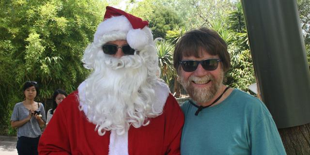 Prof Paul Gleeson with Santa